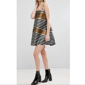 ASOS Jacquard Stripe Cami Mini Trapeze Dress